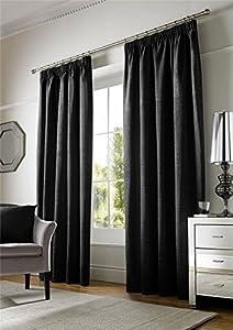 """Plain Chenille Lined Black 90"""" X 90"""" - 229cm X 229cm Pencil Pleat Curtains by Curtains"""