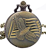 #9: LMP3Creation Classic Vintage Retro Antique Bronze Finish American Flag Eagle Pocket Watch With Chain (POW-0227)