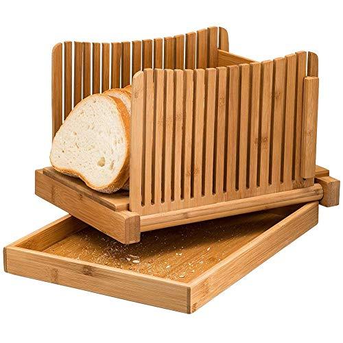 Laib Brot Slicer (Leiyini Brotschneidemaschine Schneiden von Bambusbrot Cutter Tray für hausgemachtes Brot,Laib Kuchen,Bagels | Holzbrot Schneidebrett mit Crumble Holder Faltbare kompakte Laib Cutter mit Krümel Tablett)
