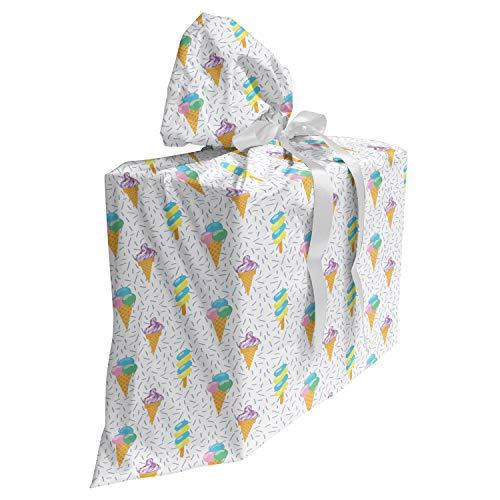ABAKUHAUS Eis Baby Shower Geschänksverpackung aus Stoff, Sommer Milchdessert, 3x Bändern Wiederbenutzbar, 70 x 80 cm, Mehrfarbig