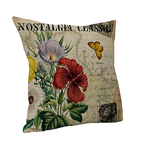 Nunubee Cotton Linen Cushion Cover 18X18 Pillowcase Throw Pillow Case