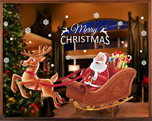 Tuopuda natale adesivi per finestre vetrofanie natalizie addobbi natale decorazioni adesivi murali fiocco di neve babbo natale bianco alce statico vetrina porta decorativi christmas decor