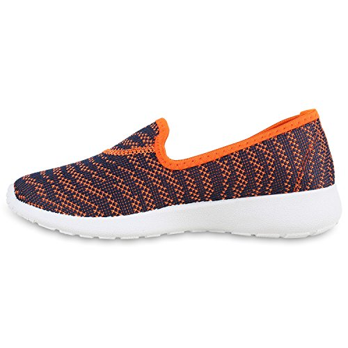 Damen Slipons Lightweight Slipper Sportschuhe Profilsohle Orange Dunkelblau