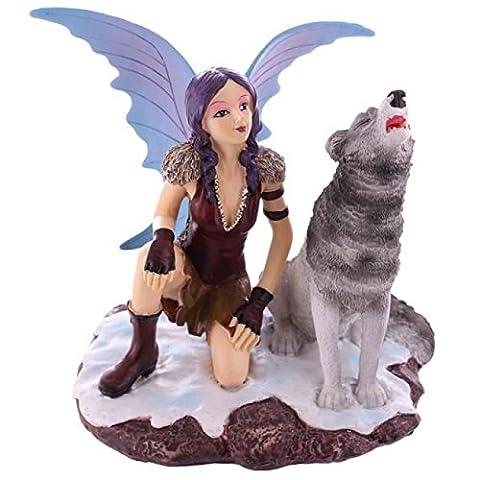 statuettedeco - Figurine Fée des Neiges avec son Loup Hurlant