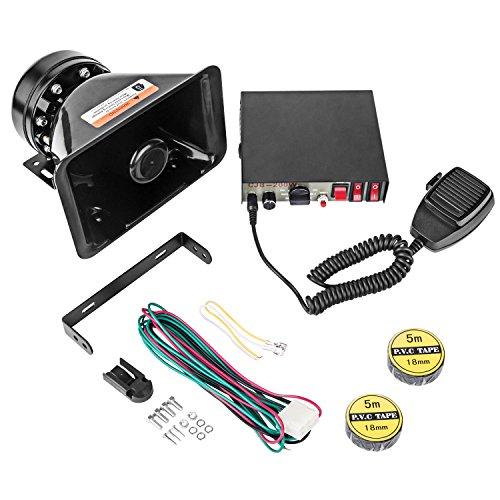 Yhaavale CJB - Sirène de police 9 Tons avec Haut-parleur carré en plastique noir, DC12 V Microphone électronique filaire à plusieurs tonalités