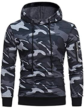 SHOBDW Hombre manga larga sudadera con capucha camuflaje Tops chaqueta abrigo ropa
