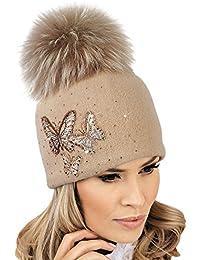 71ec0d8738e982 Willi Pom Pom Beige Hat modesta - Women Warm Winter Hat Woolmark Quality