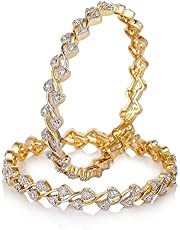 YouBella Jewellery American Diamond Gold Plated Bangles For Women and Girls
