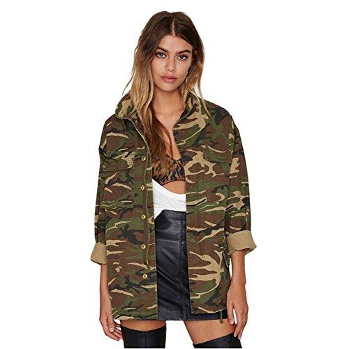 Favoridol Femmes Vintage Veste Militaire Casual Camouflage Armée (XXL, Camouflage Armée)