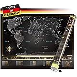 Trispando Weltkarte zum Rubbeln in Premium Qualität, Rubbelweltkarte in Deutsch, inkl. Geschenk-Verpackung & Rubbelhilfe, 80x60 cm, Landkarte zum Freirubbeln, Schwarz/Gold