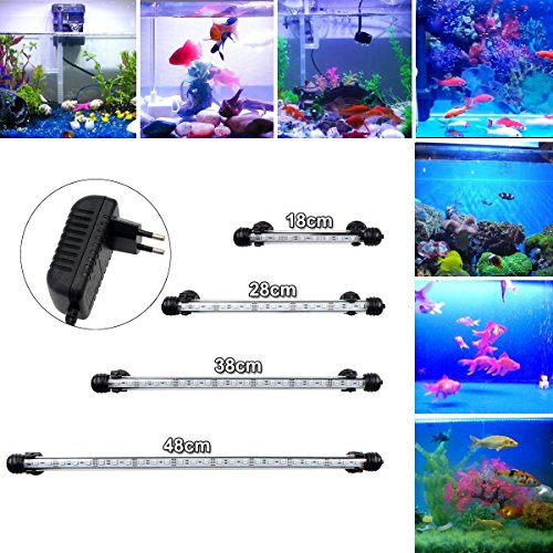 GreenSun LED Lighting 48cm Aquarium Beleuchtung LED Aquarium Lampe Fische Tank 5,8W Aquariumlampen Aufsetzleuchte IP68 Aquariumleuchte Unterwasserleuchte, Weiß & Blau - 48 Led-aquarium-lichter