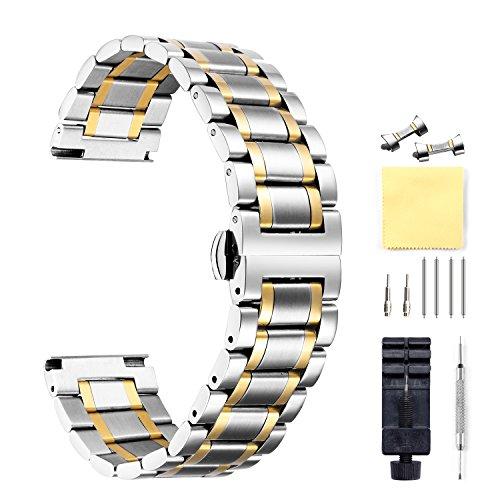 BINLUN Damen Zweifarbiges Edelstahl Uhrenarmband Rosa 16mm BL0003B-5SGG16 -