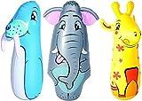 Bestway™ 3er Set Elefant Giraffe Walross aufblasbar 3D 91cm Tiere Boxen Boxsack für Kinder