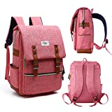 Vintage Laptop Backpack ,15 Inch Laptop Backpack Puersit Durable Business College Travel Daypacks (Red)
