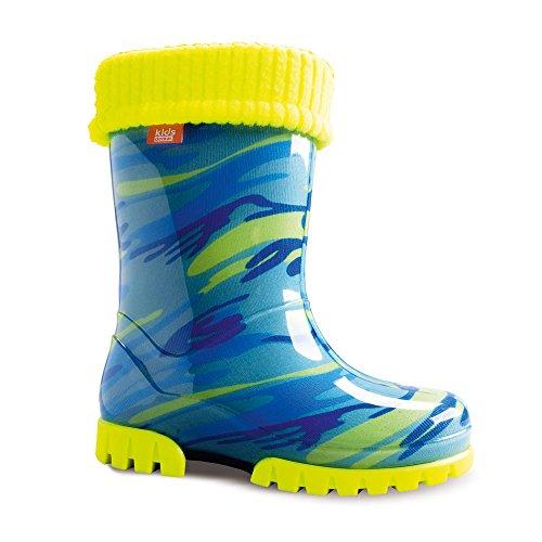Demar Twister Lux Fluo Bottes en caoutchouc avec doublure pour enfants - Bleu/jaune