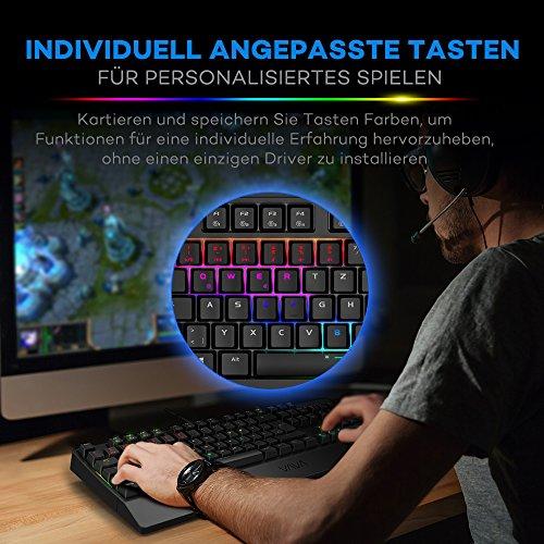 Mechanische Tastatur VAVA Gaming Tastatur 16.8 Millionen RGB Farben, Blaue Switsches, 100% Anti-Ghosting, 104 Tasten Robuste UV-Beschichtung, Ergonomisches Design, Deutsches Layout QWERTZ - 3