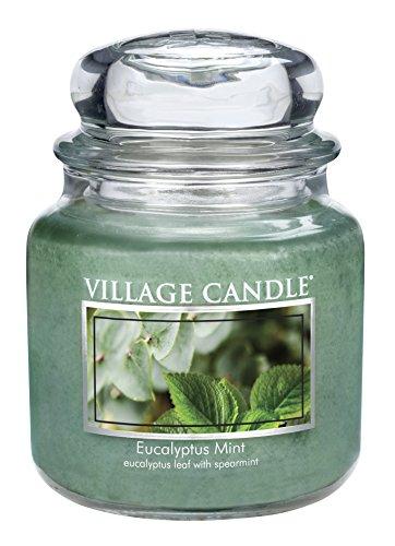 Minze Duftkerze (Village Candle 106316818 Eukalyptus-Minze Duftkerze, 454 g, Glas, grün, 9.7 x 9.5 cm)