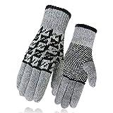 YYYYBWB Wolle Gewirkte Handschuhe, Wolle, Flanell, Verdickungsmittel Und Wärme, Outdoor - Reiten,Grau - Graue