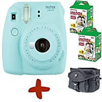 Bundle: Fuji Instax Mini 9 Ice Blue Instant Film Camera + Case + 40 Shots (Take instant credit card size photos. Capture the moment and share the fun).