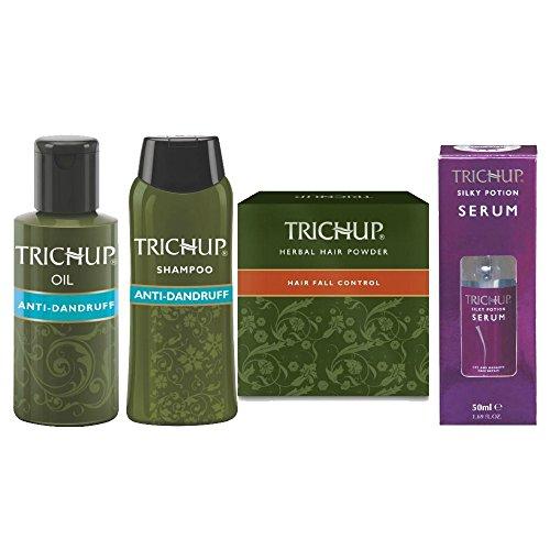 Trichup Kit de contrôle Pellicules crépus Huile: 2 x 60ml Shampooing: Kit 50ml Soins du cuir chevelu: 60ml Poudre: 60g Sérum