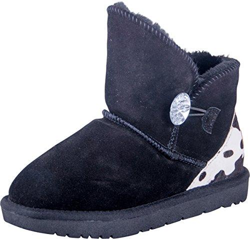 Almwerk Damen Winter-Stiefel Boots Kurzschaft Aus Echtleder Warm Gefüttert mit Fell in Braun und Schwarz, Größe:40, Farbe:Schwarz