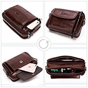 51JsrybjeZL. SS300  - Leathario Bolso Cinturón de Piel Riñonera para Hombre-Pequeña Bolsa de Bandorela-Funda para 4~6 Pulgada Phone Marrón 02