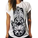 LAEMILIA Damen T-Shirt Bluse Weiß Boyfriend Stil Baumwolle mit Modern Druck Shirt Tops Hemd (EU36/38=Tag M, 2)