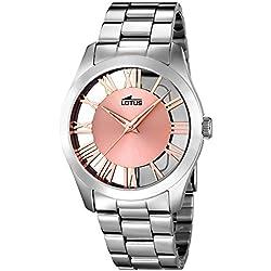 Lotus 18122_1 - Reloj Analógico Para Mujer, color Rosa/Gris