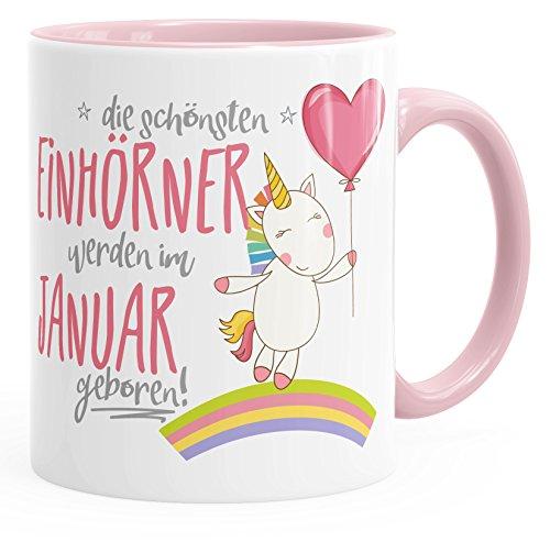 MoonWorks Geburtstags-Tasse die schönsten Einhörner Werden im Januar geboren Geschenk-Tasse Innenfarbe rosa Unisize