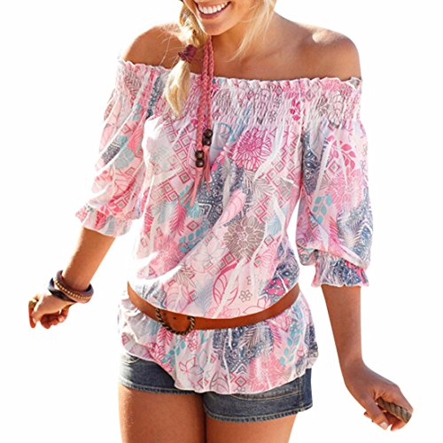 womens-puff-short-sleeve-off-shoulder-pink-floral-sexy-sweet-tops-blouses-shirt
