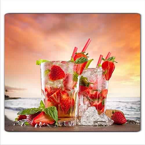 FTB Gsmarkt | Herdabdeckplatte Schneidebrett Spritzschutz 60x52 | Bild auf Glas | Sicherheitsglas Gehärtetes Glas Bild | Motiv Erdbeere