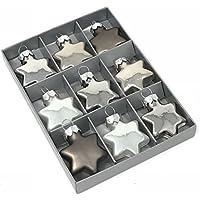 Glasstern MILLY - 9 Stück - Silber - Christbaumschmuck - Weihnachtsdeko - Anhänger (3,5 cm)