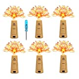 6 Guirlandes Lumières à Bouchon Étanche KINGTOP Bouteille Liège Lumière 20 LEDs 2m Fil de Cuivre Éclairage d'ambiance avec Tournevis pour Bouteille DIY, Fête, Noël, Halloween, Mariage