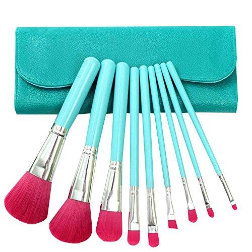 9 pcs meilleurs pinceaux de maquillage mis en bonne poignée en bois avec les yeux de visage sac bleu gratuit