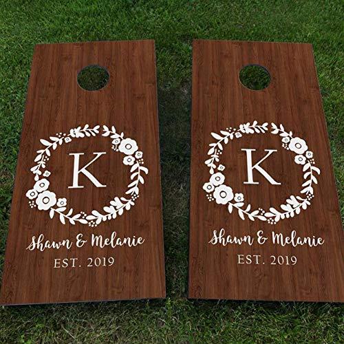 MNDDBB Benutzerdefinierte Hochzeit Cornhole Board Decals Set