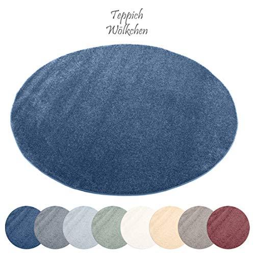tell Kollektion | Flauschige Flachflor Teppiche fürs Wohnzimmer, Esszimmer, Schlafzimmer oder Kinderzimmer | Einfarbig, Schadstoffgeprüft (Royal Blau, 120 cm rund) ()
