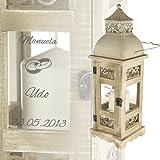 Romantische Hochzeitslaterne mit Gravur im Antik - Look aus Holz und Metall - Personalisiert mit [WUNSCHNAMEN] und [DATUM] - [MOTIV EHERINGE] - Geschenkidee zur Hochzeit oder Silberhochzeit