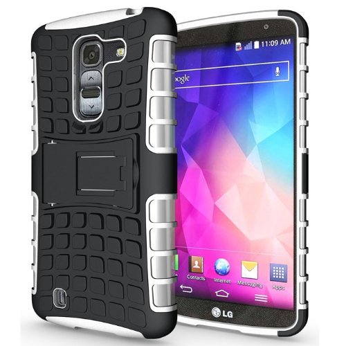 Heartly Flip Kick Stand Hard Dual Armor Hybrid Bumper Back Case Cover For LG G Pro 2 - White  available at amazon for Rs.399
