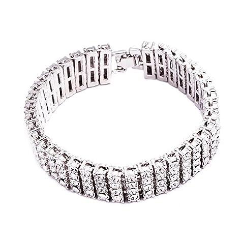 Hommes de 4rangées carré 16mm 20,3cm plaqué argent bracelet transparent Pharaon Iced Out Hip Hop Bling Bling