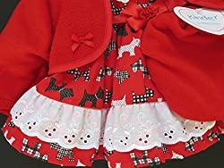 Baby Girls Red Scottie Dog Dress Red Soft Jacket & Beret Outfit by Baby Brand
