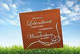 Edelrost Gedichttafel LEBENSKUNST von Ferrum Spruchtafel Gartenschild Metall Rost