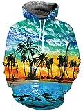 Goodstoworld Lustige Pullover 3D Hoodie Hawaii Damen Kapuzenpullover Sport Langarm Sweatshirt Kapuze Gedruckte Jersey mit Tasche