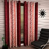 Optimistic Home Curtain Tree Eyelet Single 1 Piece Maroon Polyester Curtain,Window 5 Feet