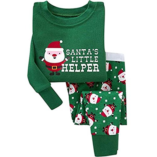 Kinder Baby Jungen Mädchen, Stillshine - Weihnachten Kinder Weihnachten Pyjamas Set Weihnachtsmann Homewear Langarm Cartoon Baumwolle Nachtwäsche (100CM, Stil 1)