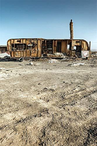 MMPTn 3x5ft Amerikanischen Stadt Ruinen Hintergrund für Fotos Verlassene Salton Sea Camping Müll Camper Trashed Trailer Einsturz Gebäude Wrack Reise Fotostudio Requisiten