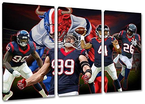 Houston Football, Fan Artikel Leinwandbild 3Teiler Gesamtmaß 120x80cm, Auf Holzrahmen gespannt, Kein Poster oder billig Plakat, Must Have für echte Fans (Houston Artwork)