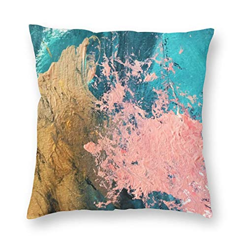 enbezug Coral Reef Colorful Abstract In Blue Teal Gold and Pink Dekokissen Abdeckung Dekorative Schein für Home Bed Sofa Couch 25x25 Inch 65x65cm ()