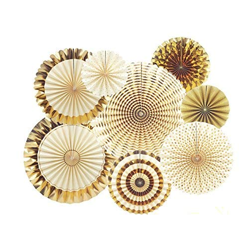 EUYOUZI 8pcs Party Decoration Set Paper Fans Hanging Decoration for Birthday Wedding Carnival Baby Shower Party Supplies Favors (Gold) (Gold)
