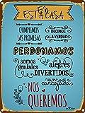 Enkolor/Chapas Decorativas Pared/Carteles Vintage/Frases/Normas Casa/30X40cm.