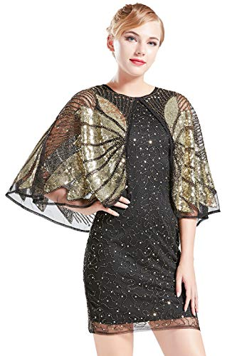 Cocktail Womens Flapper Kostüm - Coucoland 1920s Kleid mit Stola Ärmel Damen Flapper Kleid Gatsby Cocktail Party Damen 20er Jahre Kostüm Kleid (Schwarz Gold, M)